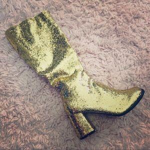 NEW! Gold Glitter Go-go Boots!
